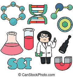 vector set of science icon