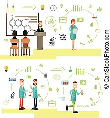 Vector set of science people symbols, icons in flat style