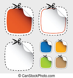 vector set of scissors cutting stickers