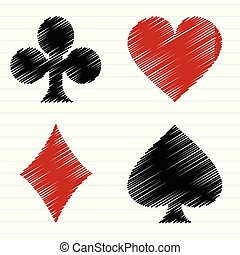Vector set of scribble playing cards symbols