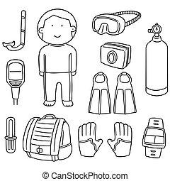 vector set of scuba diving equipment