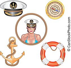 Vector. Set of sea and nautical decorations