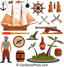 Vector set of sea pirates objects, icons and design elements in flat style. Pirate ship, weapons, island