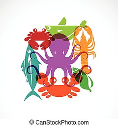 Vector set of seafood symbols on white background