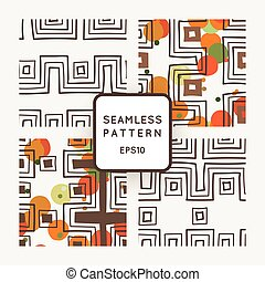 Vector set of seamless geometric patterns of crooked angular bands