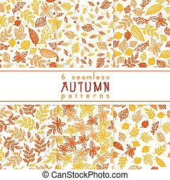 vector set of seamless pattern from doodle hand drawn autumn leaves