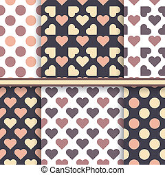 Vector set of seamless patterns made with hearts and dot