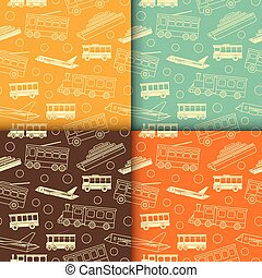 Vector set of seamless patterns with transport.