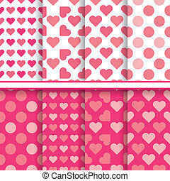 Vector set of seamless romantic love patterns