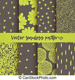 Vector set of seamless vector patterns with triangles, hearts, doodling round flowers, chaotic scribbles, brush stroke.