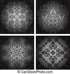 vector set of  seamless vintage retro pattern