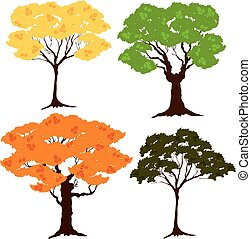 vector set of seasons of a tree