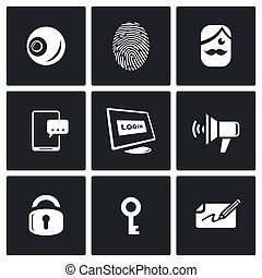 Vector Set of Security Technology Icons. Retinal scan,...