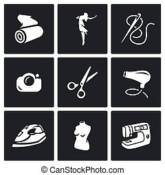 Vector Set of Sewing Studio Icons. Matter, Model, Needle and Thread, Camera, Scissors, Hair Dryer, Iron, Mannequin, Equipment.