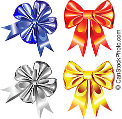 vector set of shiny ribbon bows