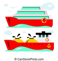 Vector Set of Ship Icons. Flat style colorful Cartoon illustration.