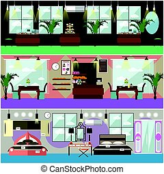 Vector set of shop interior concept flat posters, banners