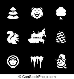 Vector Set of Siberia Icons. - Forest, bear, tree, squirrel,...