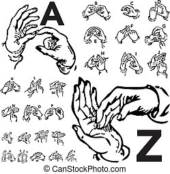 Vector Set of Sign Language Letters - Set of vector sign ...