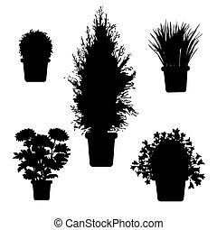 silhouette plants and flowers - Vector set of silhouette ...