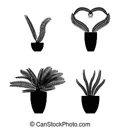 Vector set of silhouette plants in pot.