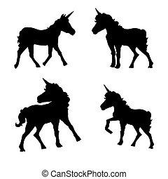 Vector set of silhouettes of unicorns.