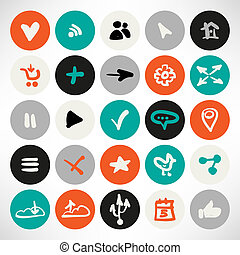 Vector set of simple flat round web icons