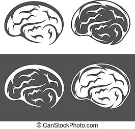 vector set of simple icons with brain