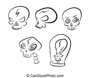 Vector set of simple skull sketches