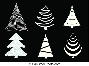 vector set of six different christmas trees isolated on the black background