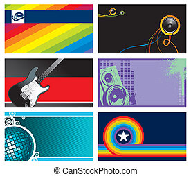 Vector set of six horizontal musical business cards