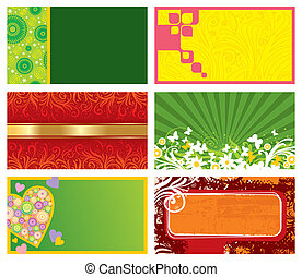 Vector set of six horizontal ornate business cards