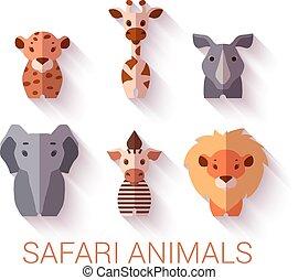Vector set of six Safari animals on white background