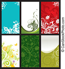Vector set of six vertical ornate & pattern business cards