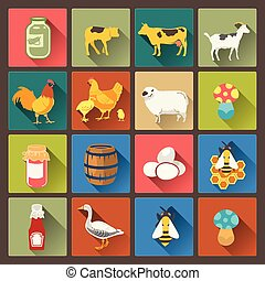 set of sixteen farm icons in flat