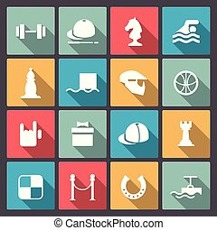 set of sixteen sport icons in flat