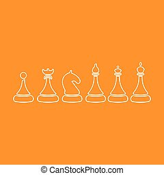 Vector Set of Sketch Chess Figures - King, Queen, Bishop, Knight, Rook, Pawn. on an orange background