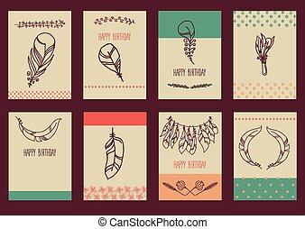 Vector Set of Sketch Plumage - Vector decoration graphics,...