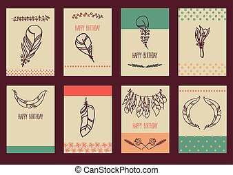 Vector Set of Sketch Plumage - Vector decoration graphics,...