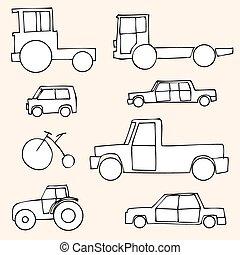 Vector Set of Sketch Transportation Icons