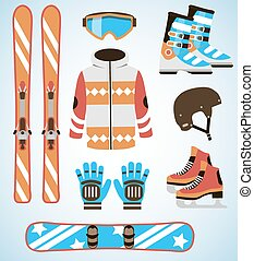 Vector set of Ski and Snowboard equipment icons. Winter sports  isolated elements in flat design style