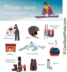 Vector set of Ski and Snowboard equipment icons, banner. Winter sports isolated elements in flat design.