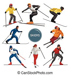 Vector set of skiers. People skiing design elements isolated on white background. Winter sport silhouettes in different poses