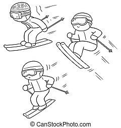 vector set of skiing