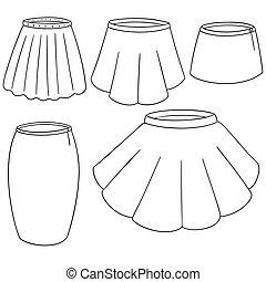 vector set of skirt