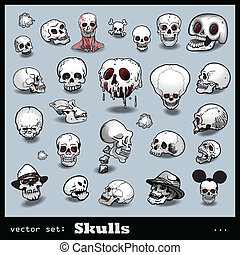 vector set of skulls isolated on light background