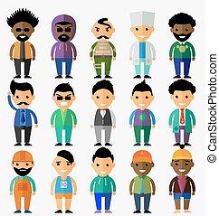 Vector set of smiling characters in cartoon style. Flat design