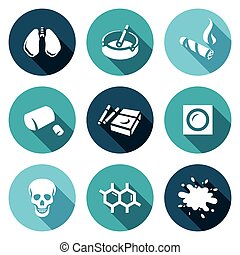 Vector Set of Smoking and Cancer Icons. Lungs, Ashtray,...