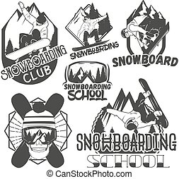 Vector set of snowboard sport labels in vintage style. Snowboarding and outdoor mountain adventure concept illustration.