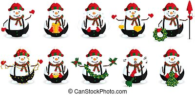 Vector Set of Snowman in Striped Hat and Scarf